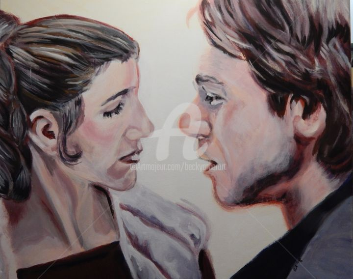 Leia & Han - Painting,  20x24 in, ©2018 by Becky Arner -                                                                                                                                                                                                                                                                                                                                                                                                                                                                                                                                              Hyperrealism, hyperrealism-612, Celebrity, Fantasy, artwork_cat.Love/Romance, Outer Space, artwork_cat.Pop Culture / Celebrity, Star Wars, Princess Leia, Han Solo, Empire Strikes Back