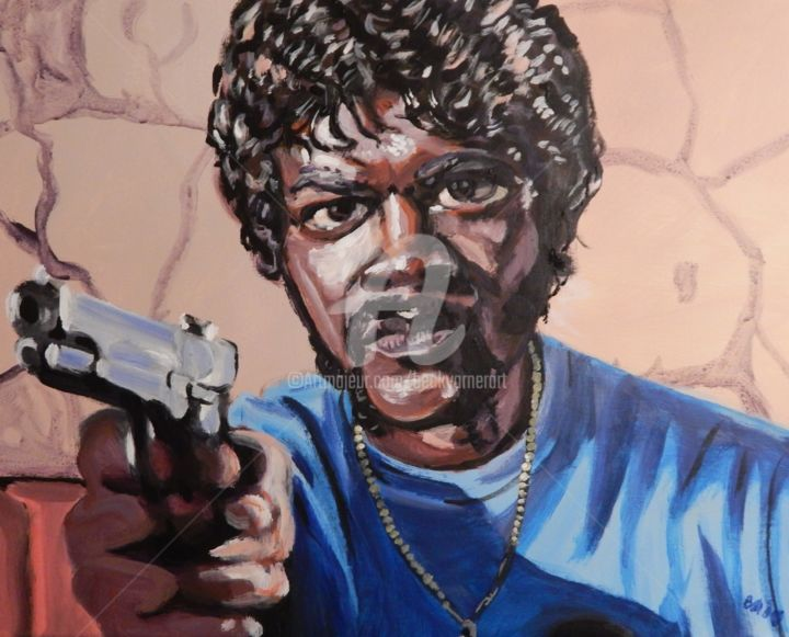 Samuel L. Jackson, Pulp Fiction - Painting,  16x20 in, ©2019 by Becky Arner -                                                                                                                                                                                                                                                                                                                                                                                                                                                                                                                                              Hyperrealism, hyperrealism-612, Celebrity, Cinema, People, Pop Culture / celebrity, Portraits, Pulp Fiction, Samuel L. Jackson, Jules Winnfield, Sam Jackson
