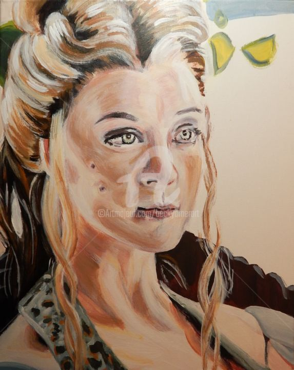 Margaery Tyrell - Painting,  20x16 in, ©2019 by Becky Arner -                                                                                                                                                                                                                                                                                                                                                                                                                                                                                                  Hyperrealism, hyperrealism-612, Celebrity, Mortality, People, artwork_cat.Pop Culture / Celebrity, Portraits, GOT, Game of Thrones, Natalie Dormer