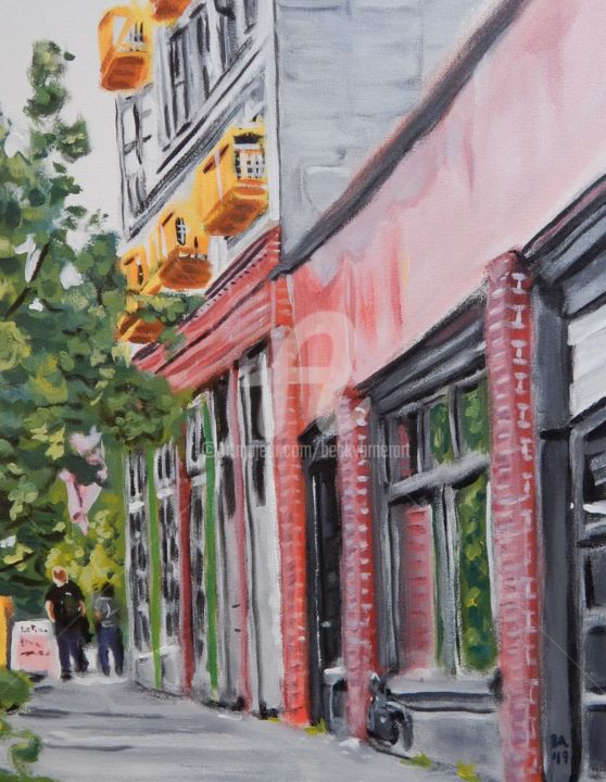 Seattle, Pine Street - Painting,  20x16 in, ©2019 by Becky Arner -                                                                                                                                                                                                                                                                                                                                                                                                                                                      Hyperrealism, hyperrealism-612, Architecture, artwork_cat.Cities, artwork_cat.Cityscape, Tree, Seattle, Washington, Nirvana