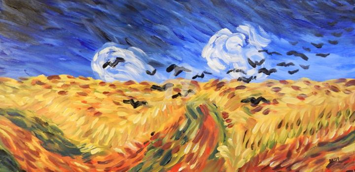Van Gogh's Wheat Field with Crows - Painting,  12x24 in, ©2019 by Becky Arner -                                                                                                                                                                                                                                                                                                                                                                                                                                                      Impressionism, impressionism-603, artwork_cat.Birds, artwork_cat.Colors, Language, Mortality, Rural life, Vincent Van Gogh, Wheat Field with Crows