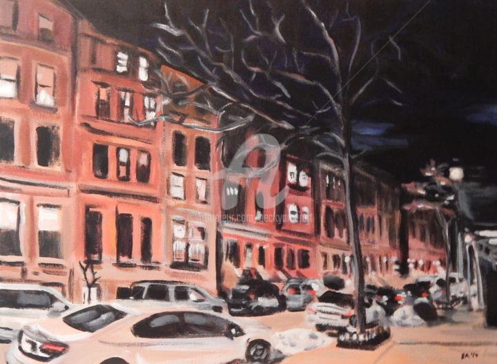 New York Night - Painting,  18x24 in ©2019 by Becky Arner -                                                                                            Photorealism, Realism, Cities, Cityscape, Places, Seasons, New York City