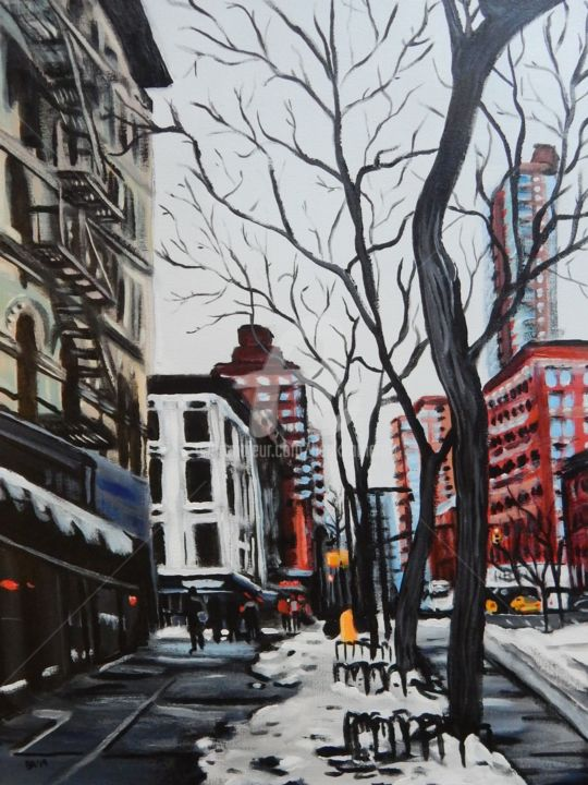 New York Cold 2 - Painting,  24x18 in, ©2019 by Becky Arner -                                                                                                                                                                                                                                                                                                                                                                                                          Hyperrealism, hyperrealism-612, artwork_cat.Cities, artwork_cat.Cityscape, artwork_cat.Colors, Culture, Places, New York City