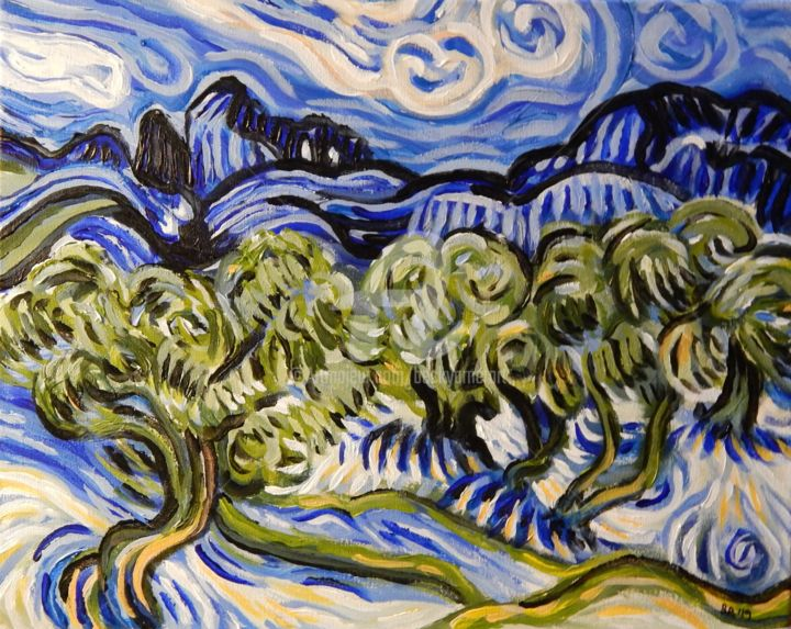 Van Gogh's Olive Trees - Painting,  16x20 in, ©2019 by Becky Arner -                                                                                                                                                                                                                                                                                                                  Impressionism, impressionism-603, Mountainscape, Tree, Van Gogh, Olive Trees