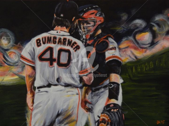 MadBum and Posey - Painting,  18x24 in ©2015 by Becky Arner -                                                                                                Photorealism, Portraiture, Realism, Canvas, Portraits, Sports, baseball, Giants, San Fransisco, Buster Posey, Madison Bumgarner, MadBum