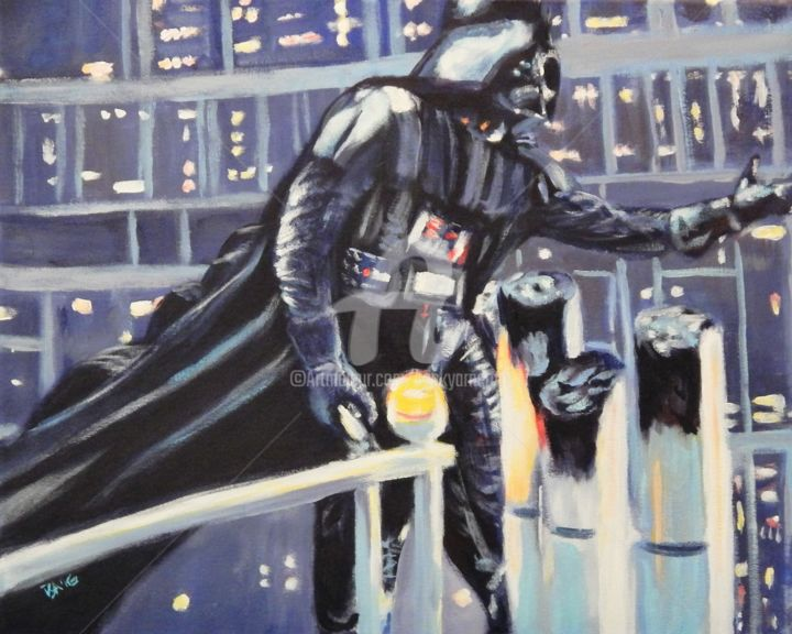 Vader - Painting,  16x20 in ©2016 by Becky Arner -                                                                                                                                                                        Photorealism, Portraiture, Realism, Canvas, Celebrity, Cinema, Fantasy, Outer Space, People, Pop Culture / celebrity, Portraits, Science-fiction, Star Wars, Darth Vader