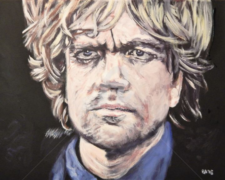 Tyrion Lannister - Painting,  16x29 in ©2016 by Becky Arner -                                                                                                                                                                                    Photorealism, Portraiture, Realism, Canvas, Celebrity, Heroic-Fantasy, Men, Mortality, People, Pop Culture / celebrity, Portraits, Seasons, Wall, Game of Thrones, GOT, Tyrion Lannister, Peter Dinklage