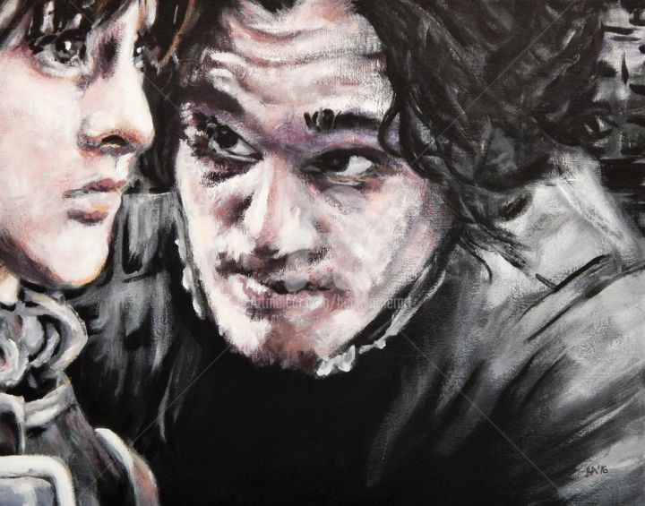 Bran Stark and Jon Snow - Painting,  16x20 in ©2016 by Becky Arner -                                                                                                                                                                        Photorealism, Portraiture, Realism, Canvas, Celebrity, Family, Heroic-Fantasy, Mortality, People, Pop Culture / celebrity, Portraits, Seasons, Game of Thrones, GOT, Kit Harington, Jon Snow, Bran Stark, Isaak Hempstead Wright