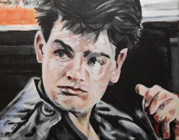 Charlie - Painting,  16x20 in ©2016 by Becky Arner -                                                                                                                                                                                                Photorealism, Portraiture, Realism, Canvas, Celebrity, Cinema, Culture, Humor, Men, Mortality, People, Pop Culture / celebrity, Portraits, Time, Charlie Sheen, Ferris Bueller, Ferris Bueller's Day Off, Tiger Blood