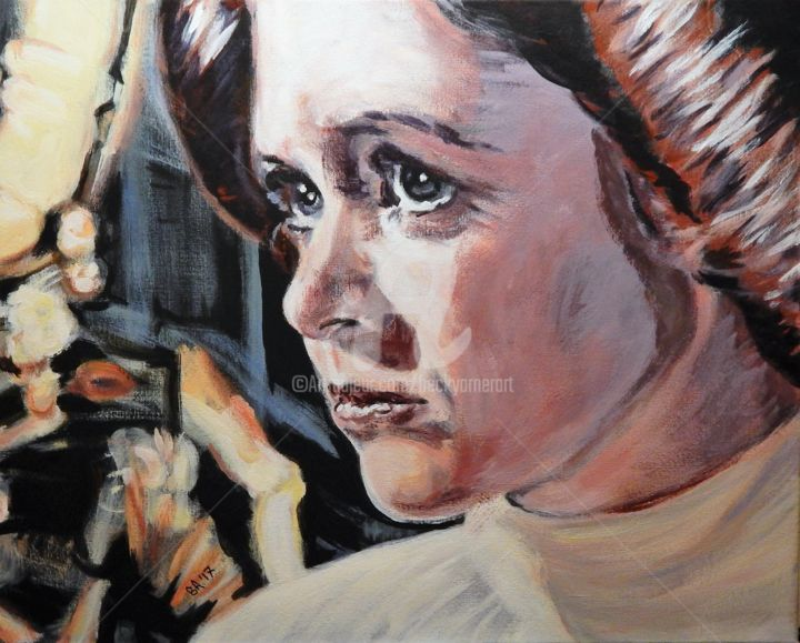 Princess Leia - Painting,  16x20 in ©2017 by Becky Arner -                                                                                                                                                                                                                        Photorealism, Portraiture, Realism, Canvas, Celebrity, Cinema, Fantasy, Heroic-Fantasy, Mortality, Outer Space, People, Pop Culture / celebrity, Portraits, Robots, Science-fiction, Women, Carrie Fisher, Princess Leia, Star Wars
