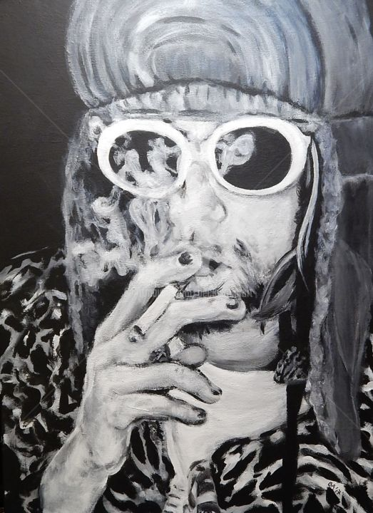 Kurt Cobain in cheetah print - Painting,  20x18 in, ©2017 by Becky Arner -                                                                                                                                                                                                                                                                                                                                                                                                                                                      Hyperrealism, hyperrealism-612, Black and White, Celebrity, Men, Mortality, Music, Nirvana, Kurt Cobain
