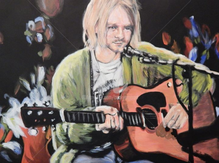 Kurt Cobain at Unplugged, 2 - Painting,  18x24 in, ©2017 by Becky Arner -                                                                                                                                                                                                                                                                                                                                                                                                                                                      Hyperrealism, hyperrealism-612, Celebrity, Men, Mortality, Music, People, Kurt Cobain, Nirvana