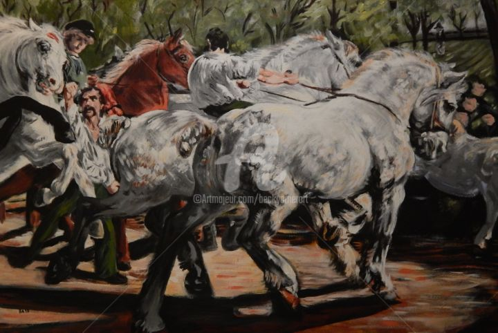 Bonheur's The Horse Fair (portion) - Painting,  24x36 in ©2017 by Becky Arner -                                                                                                                                                            Classicism, Expressionism, Canvas, Botanic, Garden, Horses, Landscape, Nature, People, Rural life, Tree, Rosa Bonheur, Horses