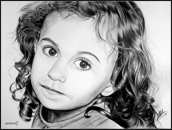 portrait dessin enfant noir et blanc samos17 portraitiste. Black Bedroom Furniture Sets. Home Design Ideas