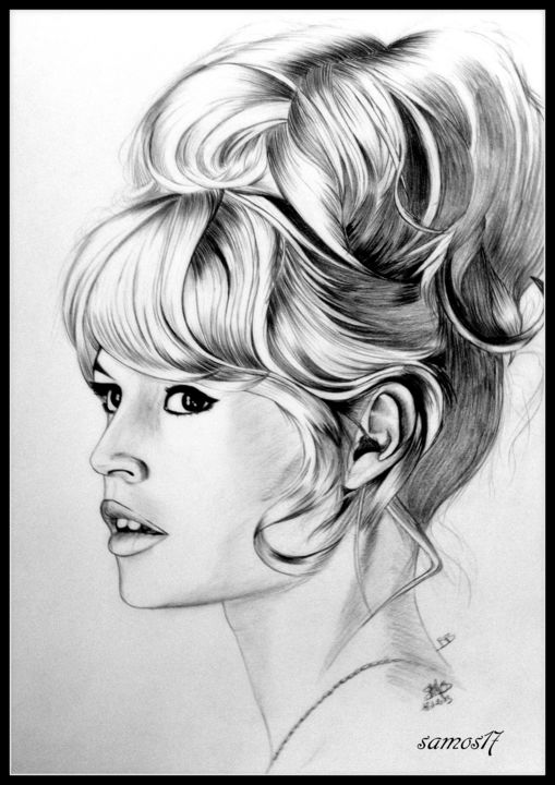 portrait dessin brigitte bardot dessin de star samos17 portraitiste. Black Bedroom Furniture Sets. Home Design Ideas