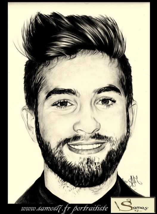 portrait dessin au crayon de kendji girac samos17 portraitiste. Black Bedroom Furniture Sets. Home Design Ideas