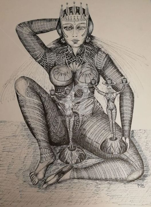 The Queen © - Drawing,  65x50 cm ©1995 by BEGA -                        Surrealism
