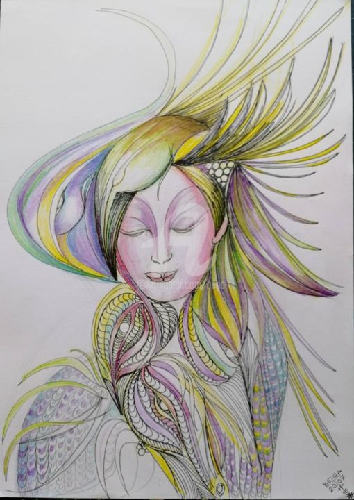 Aura  © - Drawing,  16.5x11.7 in, ©2007 by BEGA -                                                                                                                                                                                                                                                                                                                                                                                      Women, Fashion, Nature, femme, woman, nature, mode, fashion