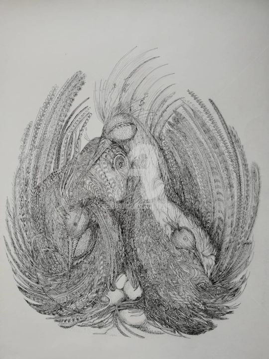 Le Nid  © - Drawing,  25.6x19.7 in, ©1997 by Bega -                                                              Birds