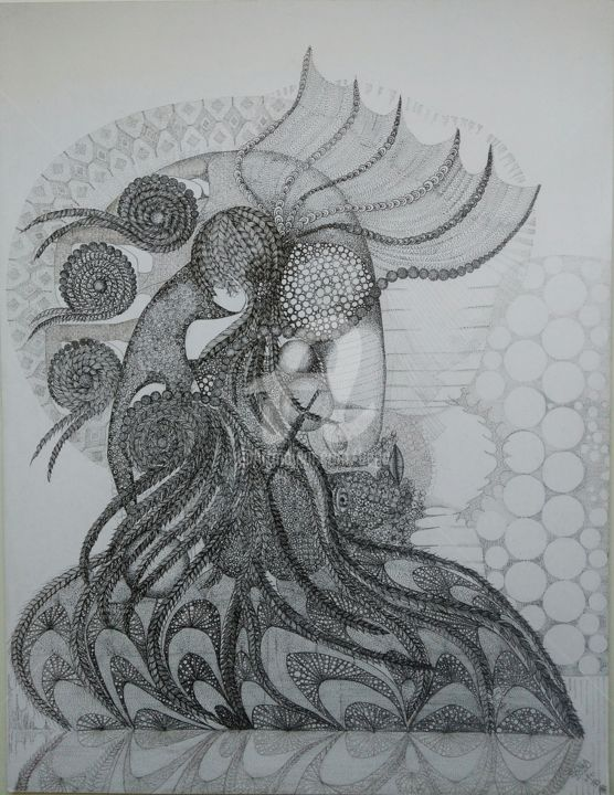 L'ombre du temps - Drawing,  25.6x19.7 in, ©2020 by Bega -                                                              Women