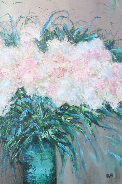 White  flowers - Painting,  60x40x2 cm ©2019 by Svetlana Belenkin -                                                        Contemporary painting, Impressionism, Canvas, Flowers, White flowers, shimmer