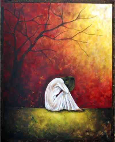 Insightful Moment - Painting,  40x32 in ©2002 by Belinda Flores-Shinshillas -                        Contemporary painting