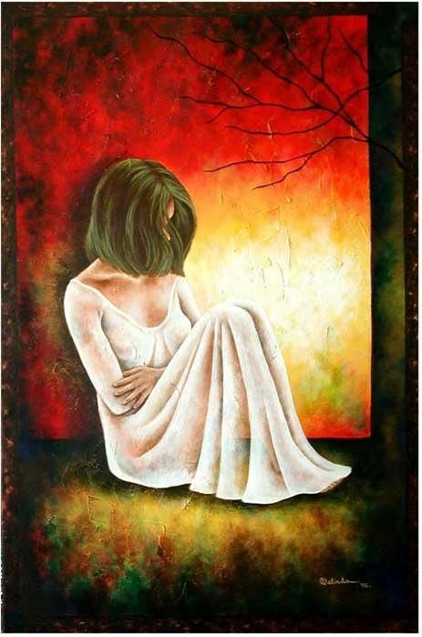 Thinking About you - Painting,  36x24 in ©2002 by Belinda Flores-Shinshillas -