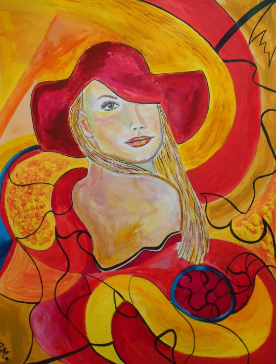 Le chapeau rouge - Painting,  65x50 cm ©2018 by Andrea Schimböck-Marock -                                                                                                                                                        Abstract Expressionism, Figurative Art, Modernism, Symbolism, Contemporary painting, Paper, Abstract Art, Erotic, Colors, Women, World Culture