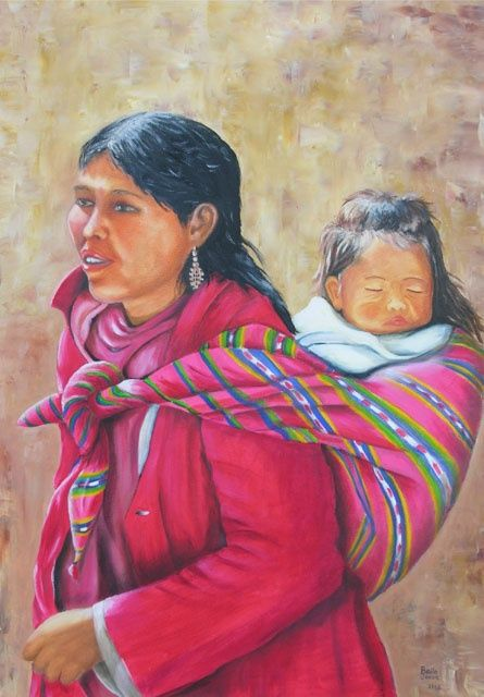 Bolivie - Painting,  27.6x19.7 in, ©2011 by Danielle Belle Josse -