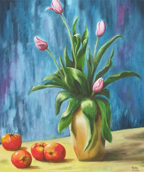 Tulipes roses - Painting,  19.7x15.8x0.4 in, ©2011 by Danielle Belle Josse -