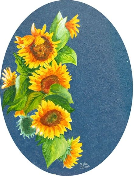 Tournesols (oval) - Painting,  9.8x7.9 in, ©2011 by Danielle Belle Josse -