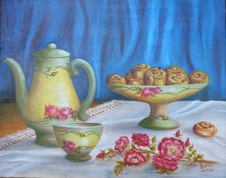 Le goûter - Painting,  15.8x19.7x0.4 in, ©2011 by Danielle Belle Josse -