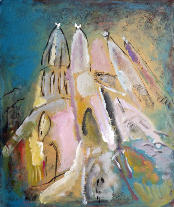 0814-17-sagrada-4-65x54.jpg - Painting,  25.6x21.7x0.8 in, ©2017 by Claudine Belmas-Gregoire -