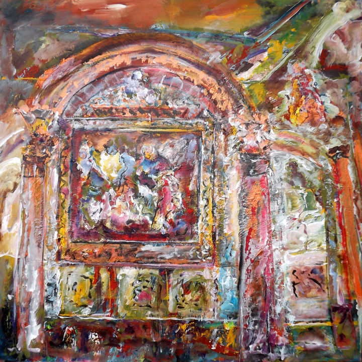 0898-19-cathedrale-grasse-80-x-80.jpg - Painting,  31.5x31.5 in, ©2019 by Claudine Belmas-Gregoire -                                                                                                                                                      Eglise, Grasse, Arcitecture