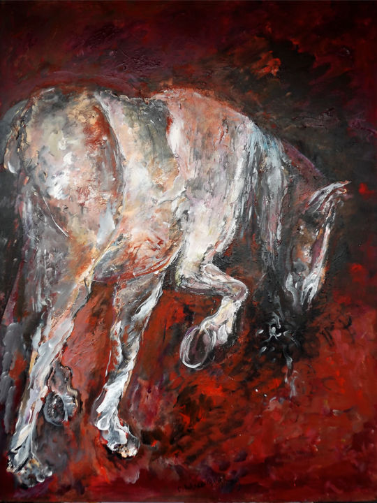 0826-18-cheval-d-apres-caravage-130-x-97.jpg - Painting,  51.2x38.2 in, ©2019 by Claudine Belmas-Gregoire -                                                                                                                                                                                                                      Figurative, figurative-594, Caravage, cheval