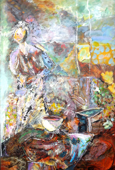 TOUS LES JOURS - Painting,  36.2x23.6x0.8 in, ©2020 by Claudine Belmas-Gregoire -                                                                                                                          Expressionism, expressionism-591