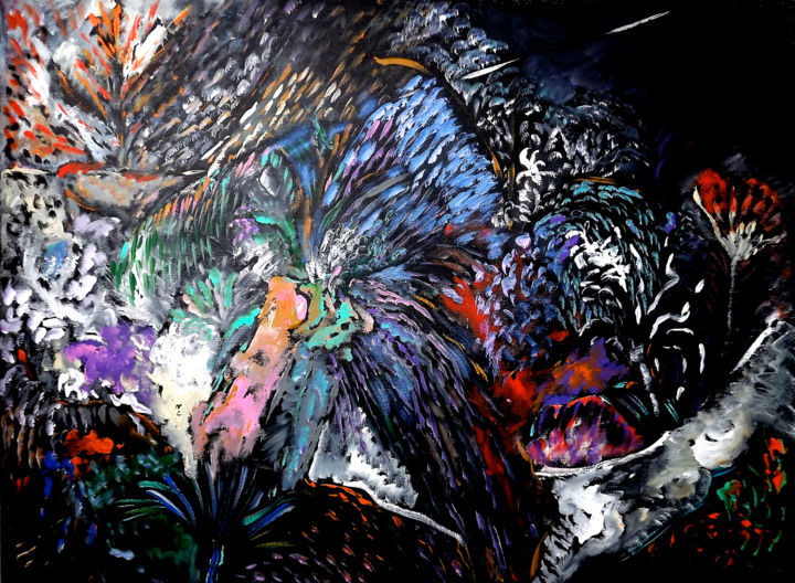 ECLOSION 1 - Painting,  28.7x39.4x0.8 in, ©2020 by Claudine Belmas-Gregoire -                                                                                                                          Abstract, abstract-570