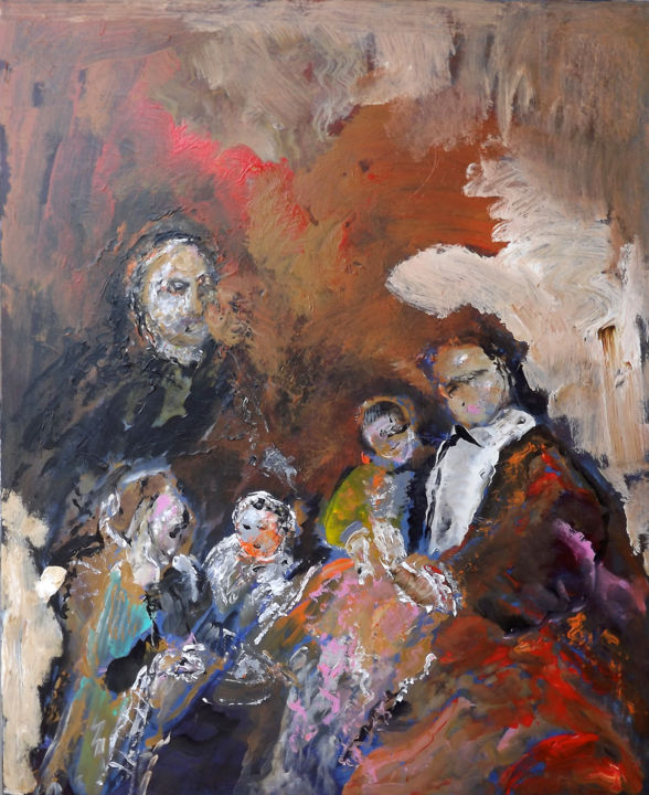Famille d'après REMBRANDT - Painting,  36.2x28.7x0.8 in, ©2020 by Claudine Belmas-Gregoire -                                                                                                                                                                                                                                                                      Expressionism, expressionism-591, Family, Improvisation, famille