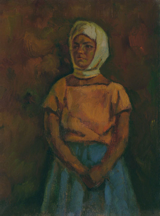 Young girl in kerchief - Pittura,  15x11x0,4 in, ©1979 da Vasily Belikov -                                                                                                                                                                                                                                                                                                                                                                                                                                                      Expressionism, expressionism-591, Persone, Ritratti, Donne, original aer, oil portrait, woman, russian woman
