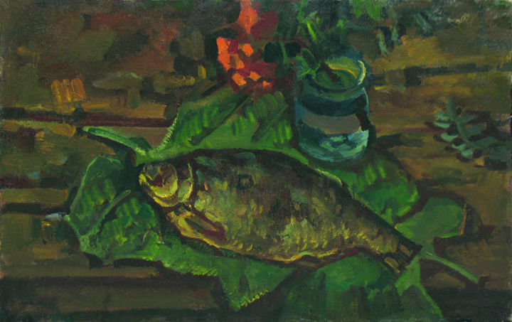 Still life with fish on the leaves - Painting,  23.6x31.5x0.8 in, ©1981 by Vasily Belikov -                                                                                                                                                                                                                          Expressionism, expressionism-591, Still life, original oil paintings
