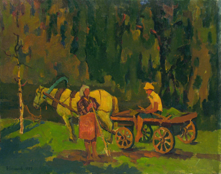 Hay time. Rural life - Painting,  21.7x27.6x0.8 in, ©1985 by Vasily Belikov -                                                                                                                                                                                                                                                                                                                                                                                                                                                                                                                                                                                          Impressionism, impressionism-603, Landscape, Men, People, Rural life, Seasons, horse, summer, rural life, original art, russian paintings