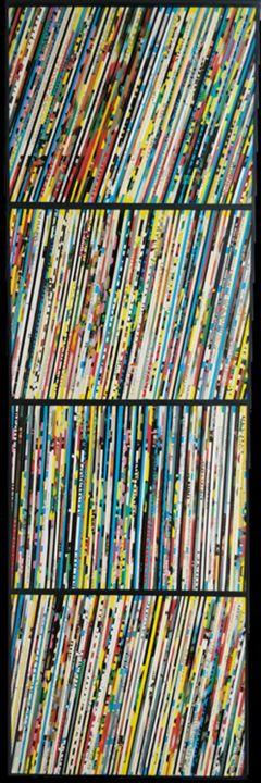 Record #1 - Collages,  47.2x15.8x1.6 in, ©2019 by Benjamin Braga -                                                                                                                                                                                                                                                                                                                                                                                                                                                                                                                                                                                                                                                                                                                                                                                                                                                                  Street Art, street-art-624, Music, collage, collages, streetart, musique, music, vinyl, vinyls, record, records, 33t, contemporaryart, popart, couleurs, geometric, frenchartist