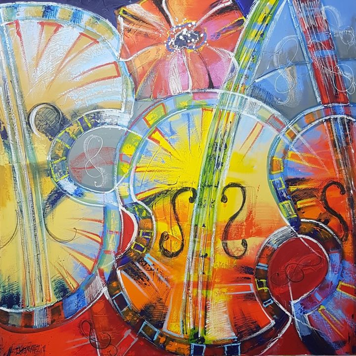 CONCERTO POUR VIOLON - Painting,  31.5x31.5x1.2 in, ©2018 by Myriam Guenaizia -                                                                                                              Music, VIOLON