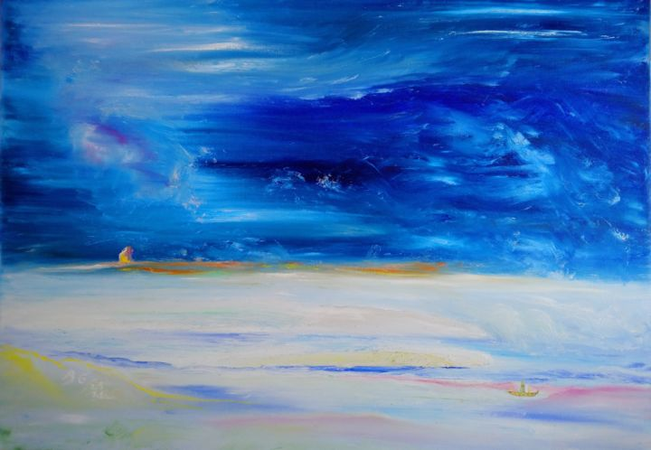 """Painting titled """"Waiting for the sto…"""" by Bennu, Original Art, Oil"""