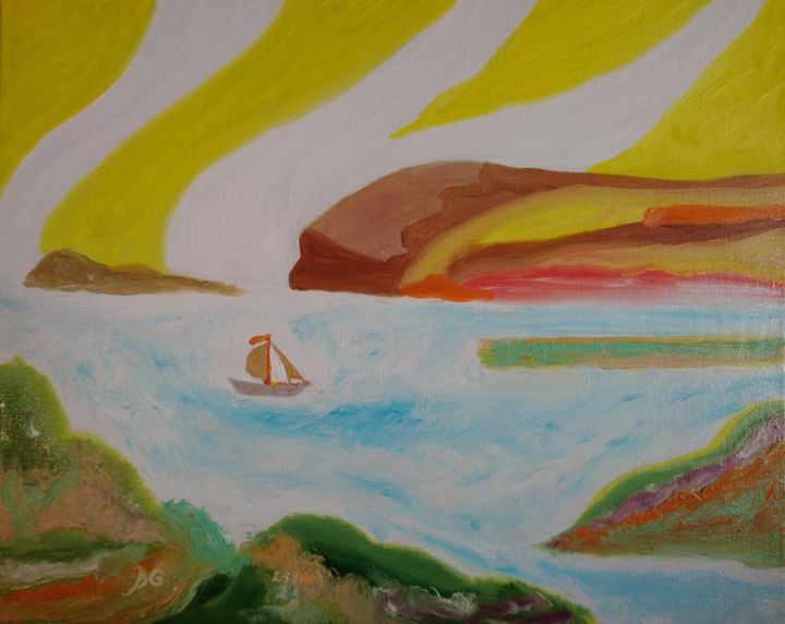 """Painting titled """"Small ship"""" by Bennu, Original Art, Oil"""