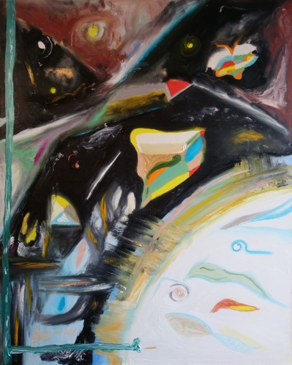 """Painting titled """"Universe"""" by Bennu, Original Art, Oil"""