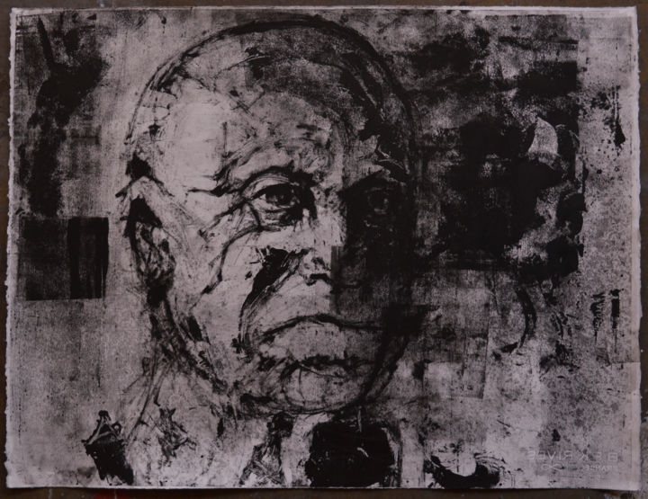 monotype sans titre - Printmaking,  50x66x0.3 cm ©2015 by Benoit Gillet -                                                                                    Figurative Art, Documentary, Portraiture, Paper, Portraits, benoit gillet, portrait, monotype, gravure