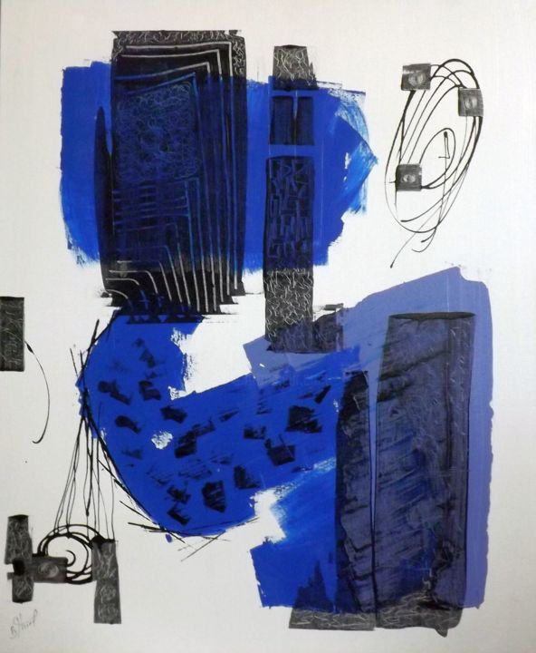 bluenotte - Painting,  28.7x23.6 in, ©2018 by Benoit Thiel -
