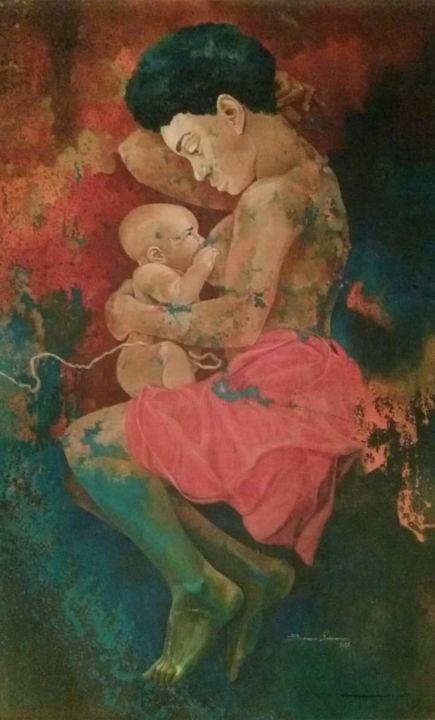Adoption - Painting,  60.2x35.4 in, ©2017 by Benedict Olorunnisomo -                                                              Family