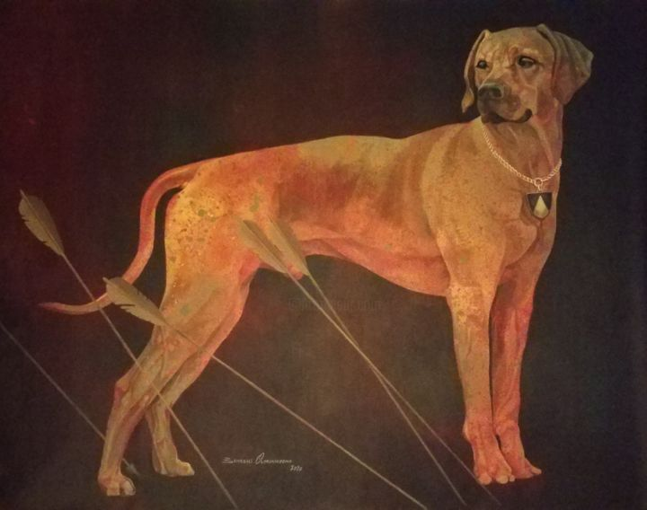 Dog Painting, acrylic, expressionism, artwork by Benedict Olorunnisomo